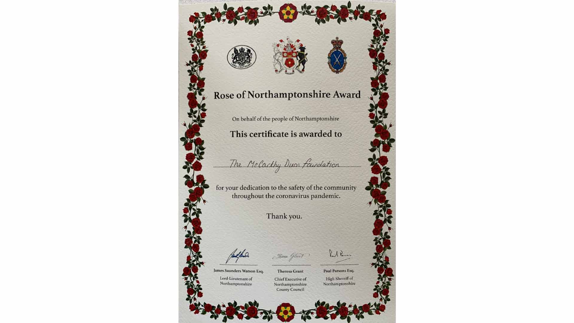 The McCarthy-Dixon Foundation won the Rose of Northamptonshire for dedication to the safety of the community during COVID
