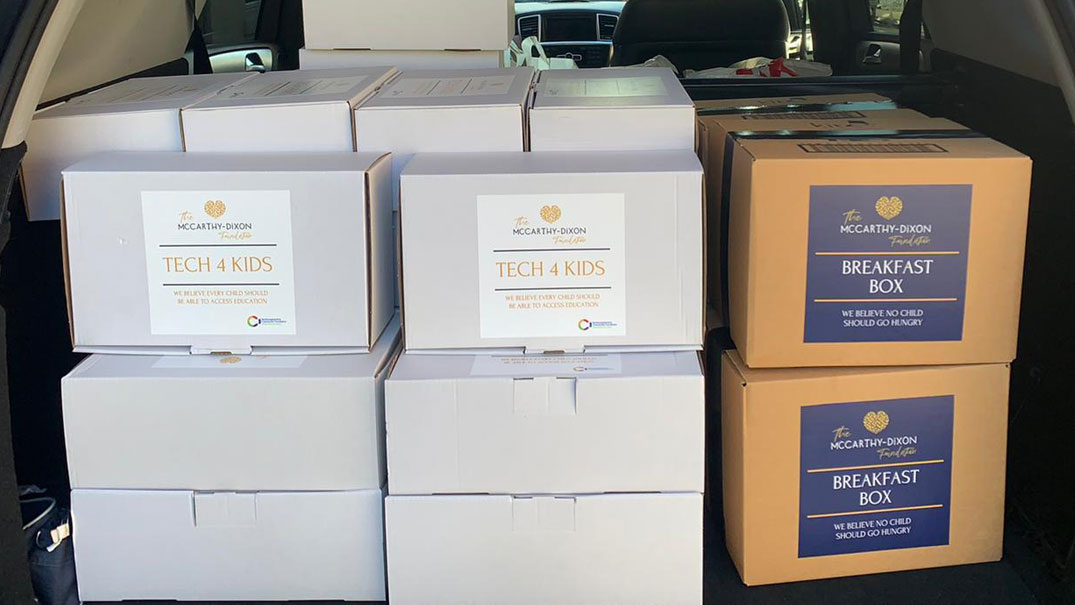 The McCarthy-Dixon Foundation, Ready to Deliver TECH 4 KIDS Boxes and breakfast boxes to local Northampton Schools